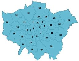 The City of London and the 33 London boroughs